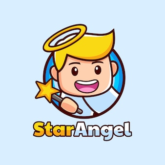 Cartoon angel mascotte met een star wand logo ontwerp