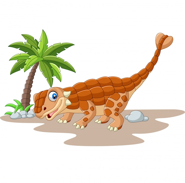 Cartoon ankylosaurus dinosaurus op wit