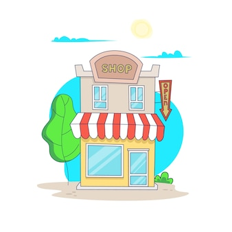 Cartoon aparte winkel gebouw geïsoleerd op wit