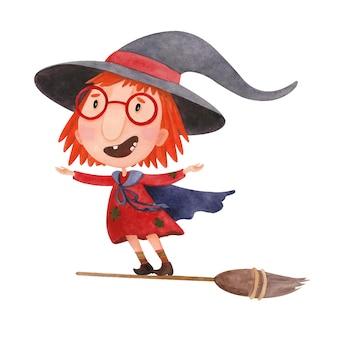 Cartoon aquarel illustratie voor halloween met heks vliegen op een bezemsteel