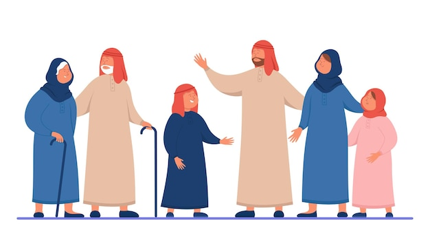 Cartoon arabische familie in traditionele kleding. vlakke afbeelding