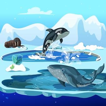 Cartoon arctische fauna