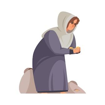 Cartoon arme middeleeuwse vrouw bedelen om geld op haar knieën