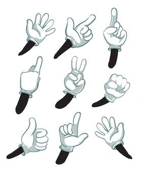 Cartoon armen, gehandschoende handen. delen van het lichaam