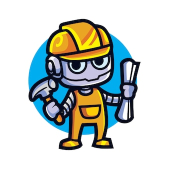 Cartoon arsitect bot mascotte