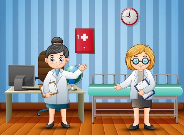 Cartoon arts en verpleegkundige in het ziekenhuis
