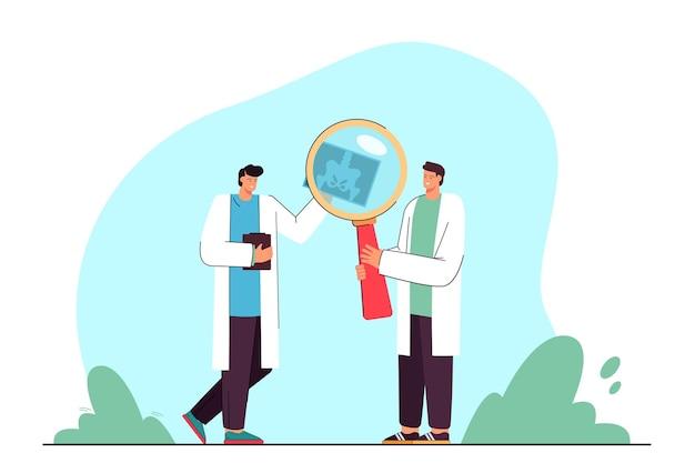 Cartoon artsen die röntgenfoto's van het bekken analyseren met vergrootglas
