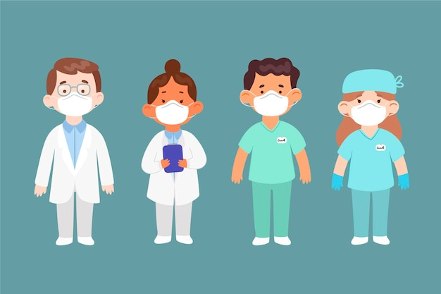Cartoon artsen en verpleegsters geïllustreerd Gratis Vector