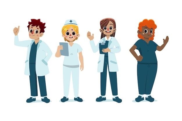 Cartoon artsen en verpleegsters geïllustreerd