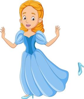 Cartoon assepoester prinses met haar schoen