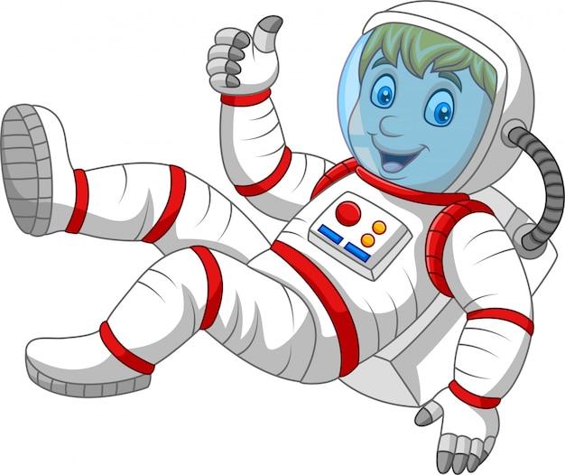 Cartoon astronaut duimen opgevend