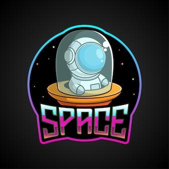 Cartoon astronaut mascotte aan boord van een ruimteschip
