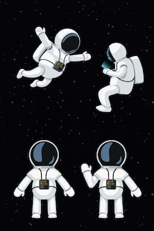 Cartoon astronaut set