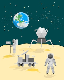 Cartoon astronauten op maanoppervlak of landschap met vlag en ruimteschip vlakke stijl ontwerp. vector illustratie