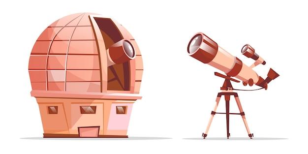 Cartoon astronomie ontdekkingsapparatuur set. observatorium koepel met radiotelescoop
