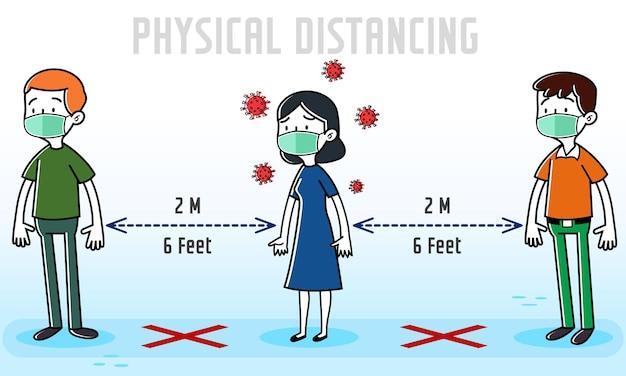 Cartoon asymptomatische mensen zonder coronavirus-symptomen onder mensen
