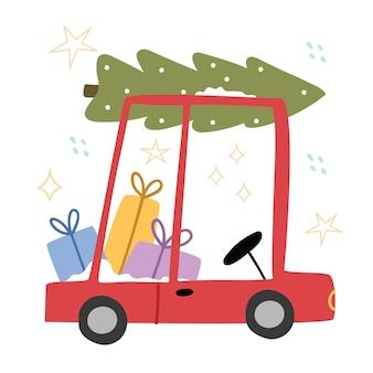 Cartoon auto draagt kerstcadeautjes en een kerstboom.