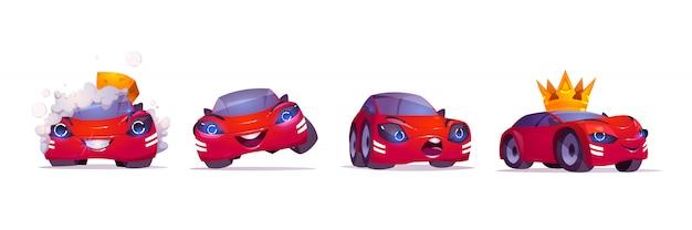 Cartoon auto karakter wassen met schuim, vip in gouden kroon, uiten blije en verraste emoties