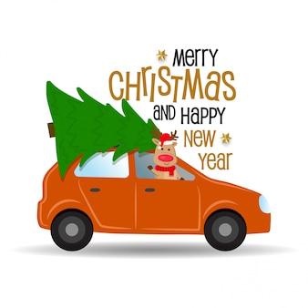Cartoon auto met rendieren en kerstboom.