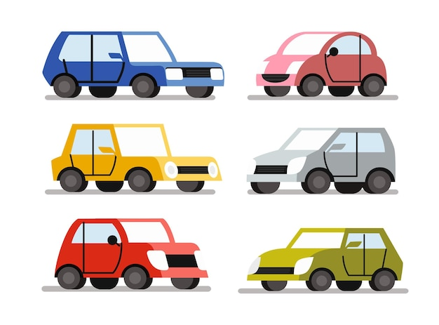 Cartoon auto's kleurenset. auto voertuig vlakke stijl.