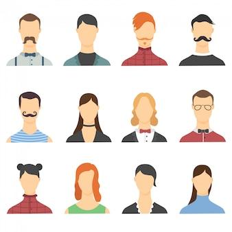 Cartoon avatar set met mannen en vrouwen. portretten van mannen en vrouwen. set avatars van gelukkige mensen van verschillende leeftijden. portretten van volwassenen mensen op kleurrijke achtergrond.