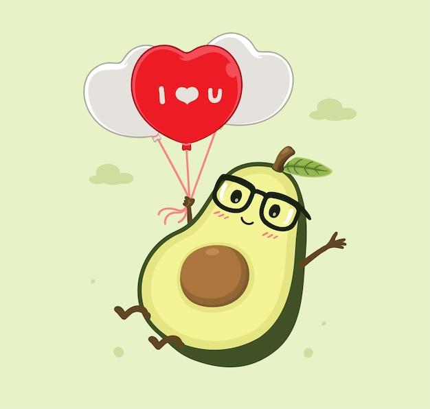 Cartoon avocado en ballon