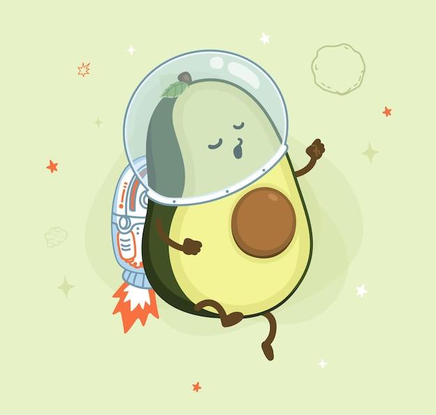 Cartoon avocado kosmonauten