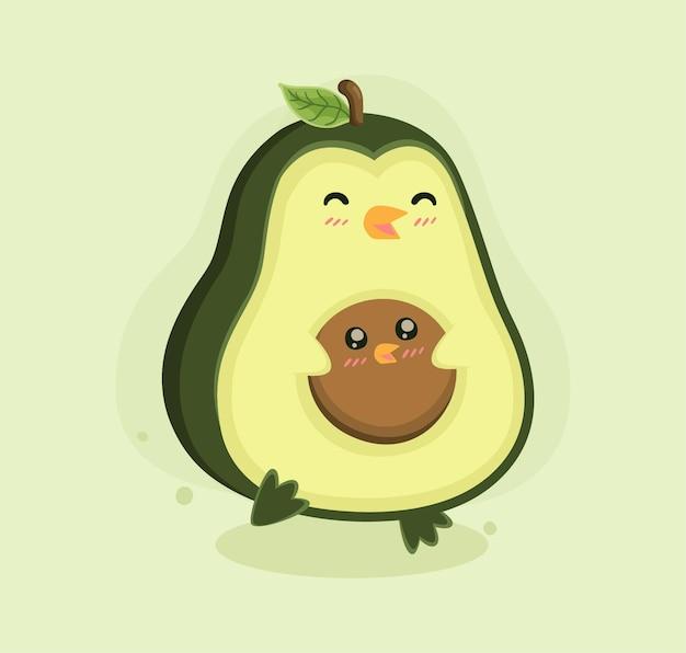 Cartoon avocado pinguïn