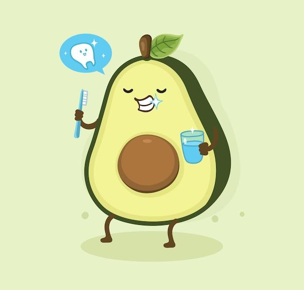 Cartoon avocado tanden poetsen