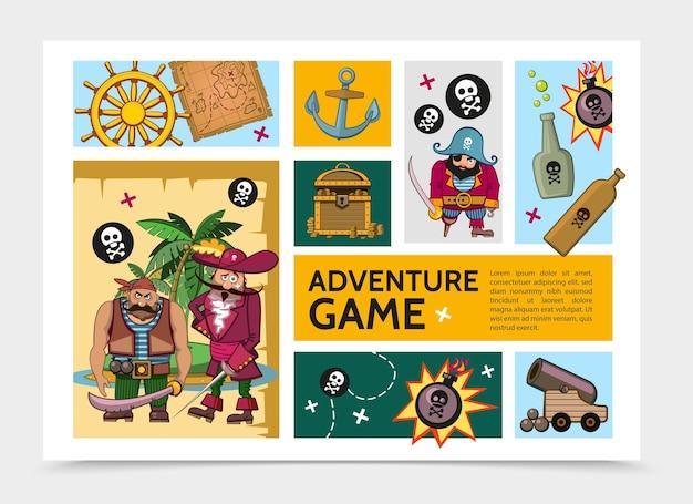 Cartoon avontuur spel infographic sjabloon