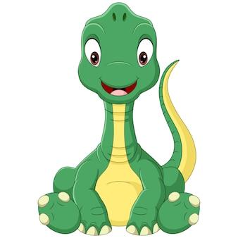 Cartoon baby brachiosaurus dinosaurus zitten