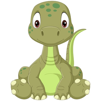 Cartoon baby brontosaurus dinosaurus zittend