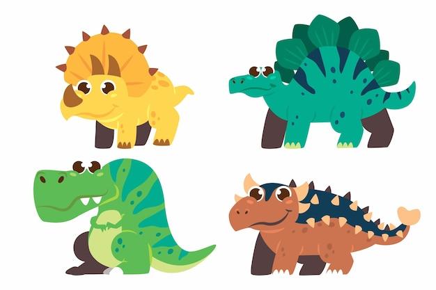 Cartoon baby dinosaurus geïllustreerd pakket