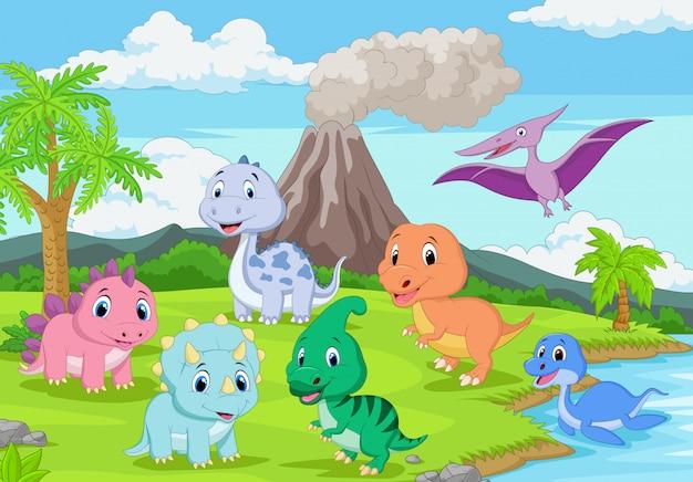 Cartoon baby dinosaurussen in de jungle