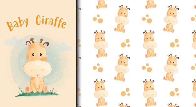 Cartoon baby giraffe kaart en naadloze patroon.