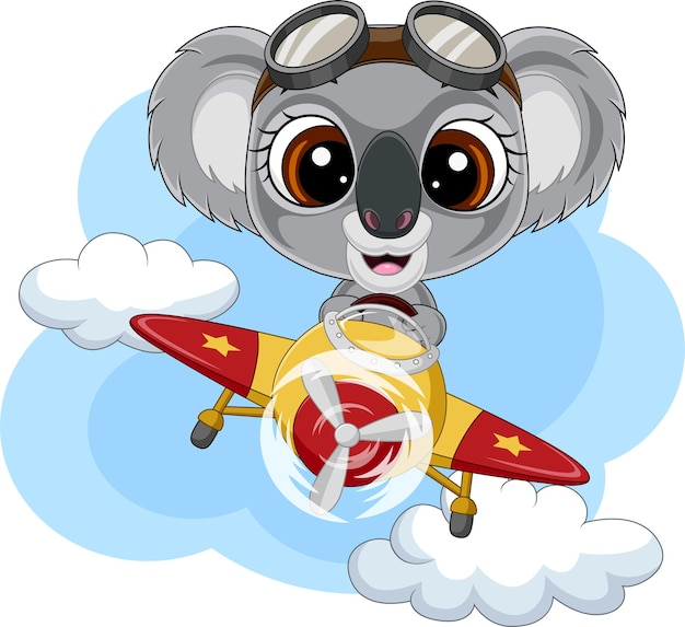 Cartoon baby koala die een vliegtuig bestuurt