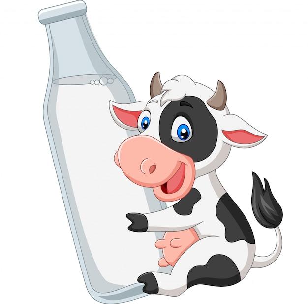Cartoon baby koe met een fles melk