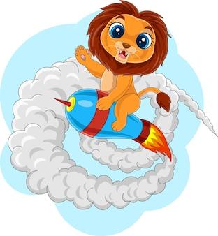 Cartoon baby leeuw rijden raket