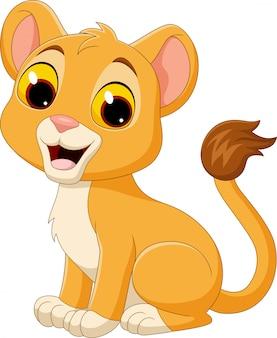 Cartoon baby leeuwin geïsoleerd op een witte achtergrond
