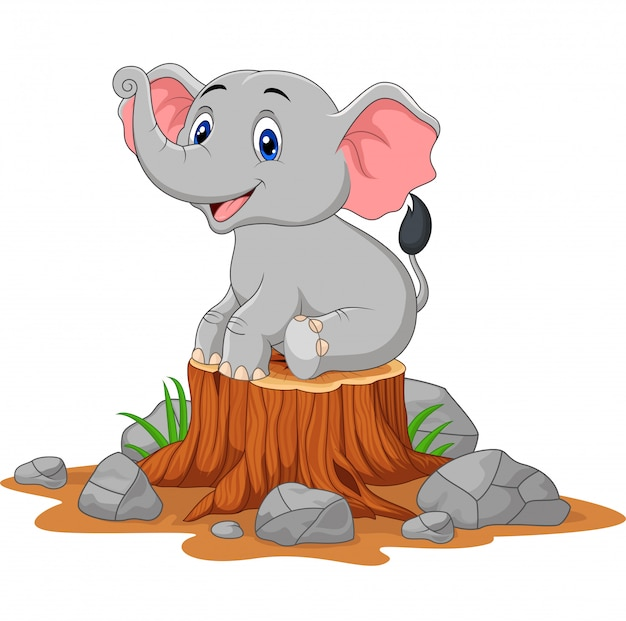 Cartoon baby olifant zittend op boomstronk