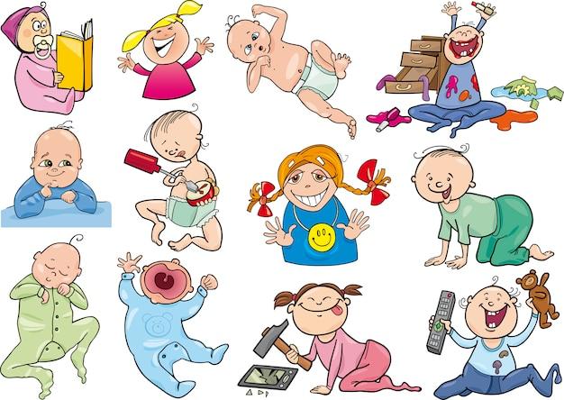 Cartoon baby's en kinderen instellen