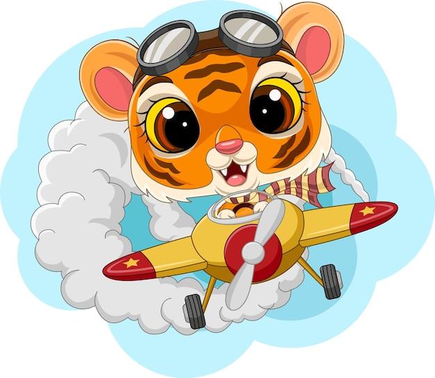 Cartoon baby tijger die een vliegtuig bestuurt