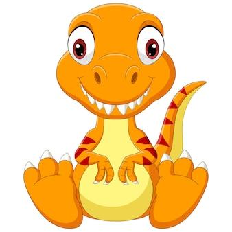 Cartoon baby tyrannosaurus dinosaurus zitten