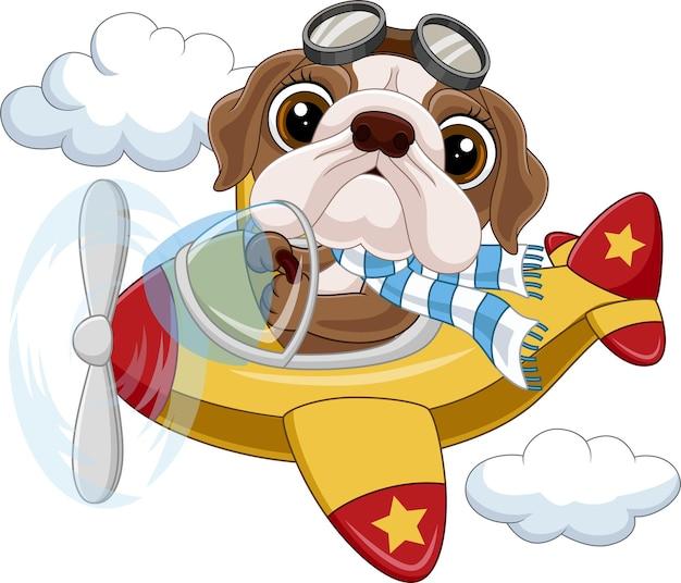 Cartoon babybuldog die een vliegtuig bedient