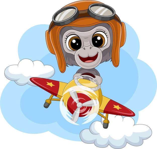 Cartoon babygorilla die een vliegtuig bestuurt