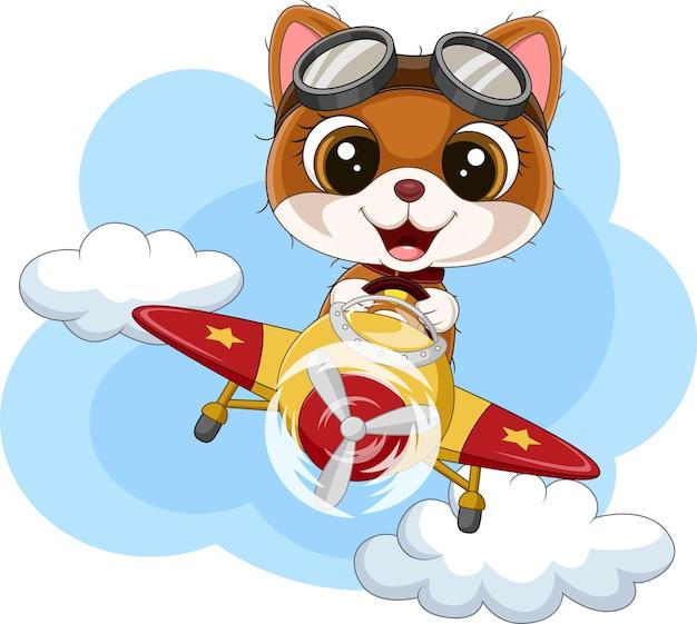 Cartoon babykat die een vliegtuig bestuurt