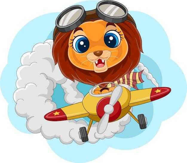 Cartoon babyleeuw die een vliegtuig bedient