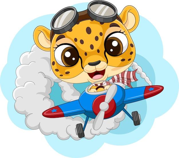 Cartoon babyluipaard die een vliegtuig bestuurt