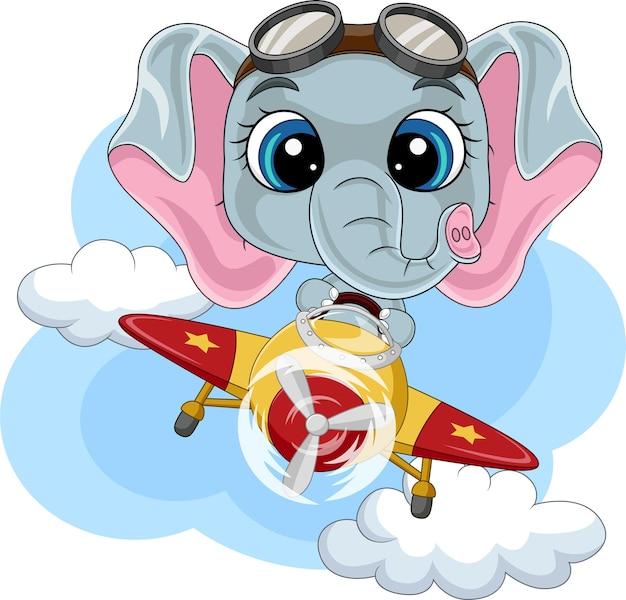 Cartoon babyolifant die een vliegtuig bestuurt