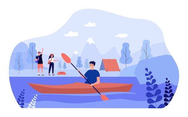 Cartoon backpackers zwaaien naar kajakken vriend vanaf de oever van het meer. gelukkig man in kajak met peddel platte vectorillustratie. sport, buitenactiviteitenconcept voor banner, websiteontwerp of bestemmingswebpagina